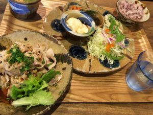島豆腐と豚しゃぶの香味ダレ