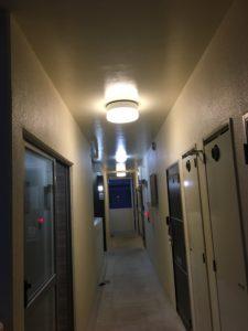 廊下の共用灯を電球色に変えた